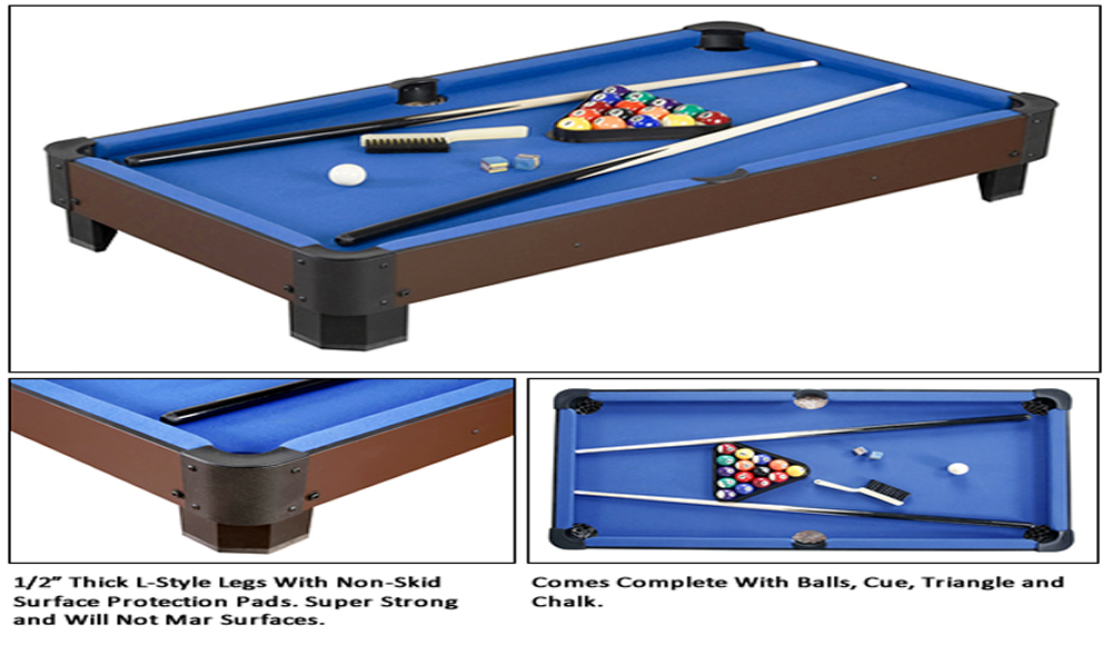 Sharp Shooter Table Top Pool Table Game By Carmelli - Pool table description